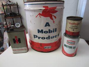 Vintage oil cans.
