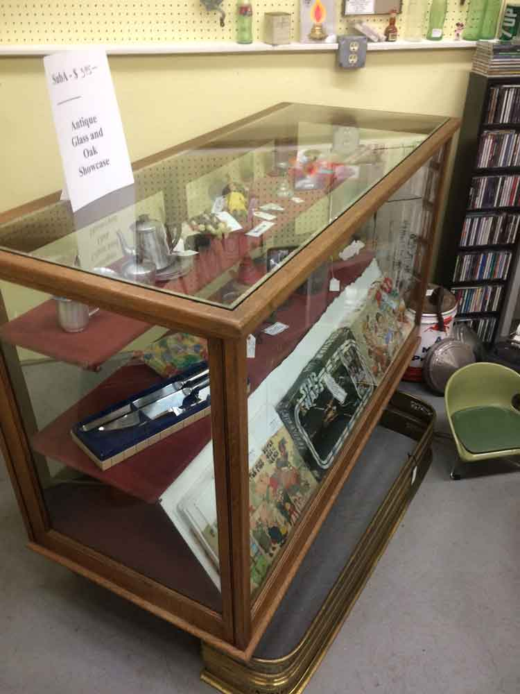 Suburban Antiquarian Antique Oak and Glass Display Case with Two shelves 2
