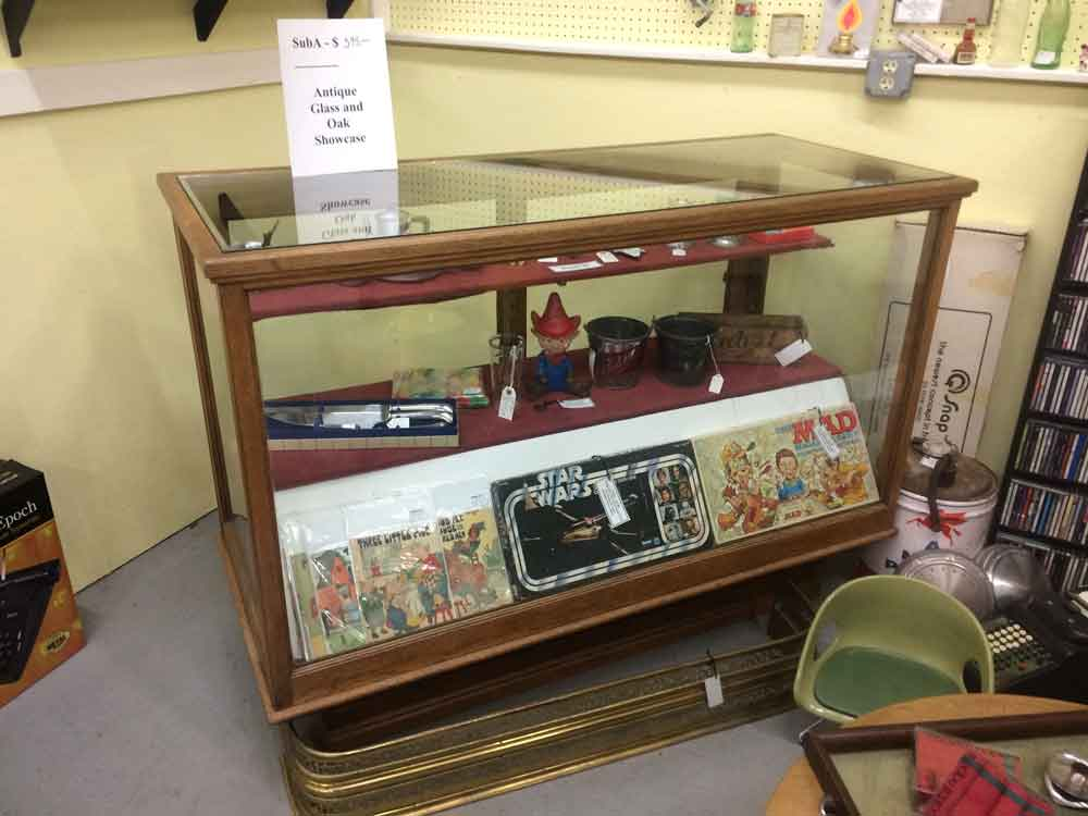 Suburban Antiquarian Antique Oak and Glass Display Case with Two shelves
