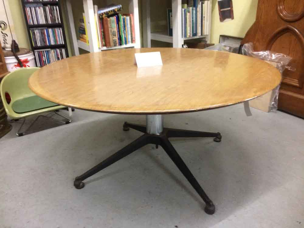 Suburban Antiquarian Mid Century Modern Coffee Table with a Cast Iron and Chrome Base